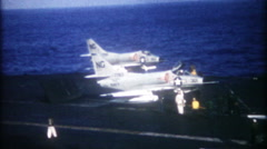 Activity on US Naval aircraft carrier at sea - 3262 vintage film home movie Stock Footage