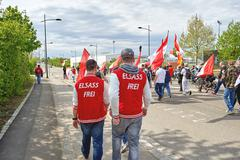 Protest against fusion of Alsace region with Lorraine and Champagne-Ardenne - stock photo