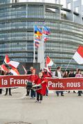 Protest against fusion of Alsace region with Lorraine and Champagne-Ardenne Stock Photos