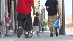African American Kids on Street Cleveland, Ohio Stock Footage