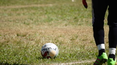 Goalkepper kicking ball. Game, slow motion Stock Footage
