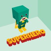 amazing superhero isometric theme - stock illustration