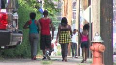 African American kids Walking on Sidewalk Stock Footage