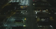 WS AERIAL TU View of city with busy street and parking area Stock Footage