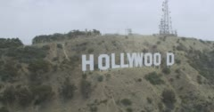 WS AERIAL ZI ZO TS Helicopter flying near Hollywood sign Stock Footage