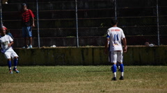 Soccer Player Dribbles Down The Field During A Game Stock Footage