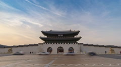 Timelapse at Gwanghwamun Gate, Seoul, South Korea, 4K Time lapse Stock Footage