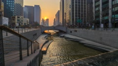 Sunrise timelapse at Cheonggyecheon Stream, Seoul, South Korea, 4K Time lapse Stock Footage
