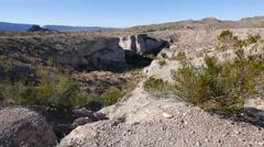 Texas Big Bend Tuff Canyon with creosote bush Stock Footage