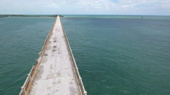 Remains of the overseas railroad in the florida keys Stock Footage