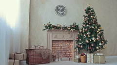 Fireplace with Christmas-tree - stock footage