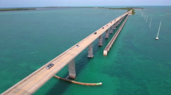 Aerial tour Overseas highway Florida Keys - stock footage