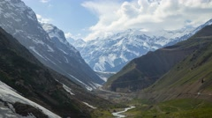 Clouds over the road to Pamir mountains in Tajikistan - stock footage