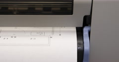 Blueprint Prints Out of Printer Front View Move Left Stock Footage