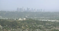 WS AERIAL View of residential district with skyline in background - stock footage