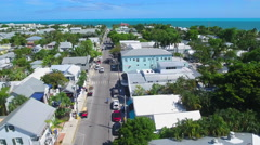 Aerial tour Duval Street Key West - stock footage
