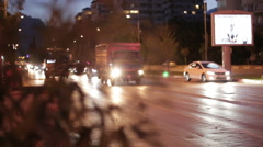 A busy roadway in the city at night Stock Footage