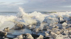 Iceland Ice beach or Jokulsarlon Iceberg beach Stock Footage