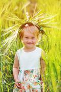 Beautiful girl with wreath on his head in wheat field. Portrait close up Stock Photos