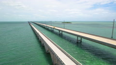 Old and new 7 mile bridge Stock Footage