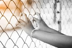 Hand in jail. Black and white. Stock Photos
