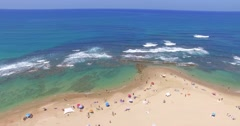 Aerial View of the Roman aqueduct by the Mediterranean Sea. CAESAREA, ISRAEL Stock Footage