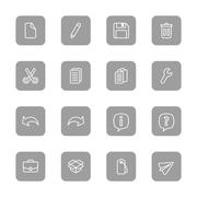 line web icon set on gray rounded rectangle - stock illustration
