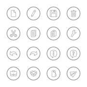 gray line web icon set with circle frame - stock illustration