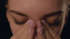 Closeup face SAD Young Woman Crying. problems private life. Girl depression - stock footage