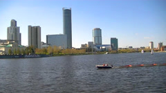 Russia - Ekaterinburg - April 30, 2016 - water area of the city pond Stock Footage