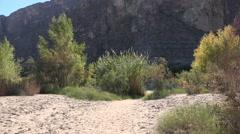 Texas Big Bend Santa Elena Canyon with sandy flood plain Stock Footage