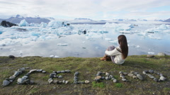 Iceland nature landscape Jokulsarlon glacial lagoon - ICELAND written with rocks Stock Footage