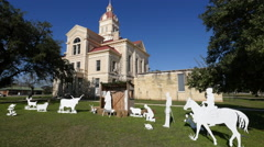 Texas Bandera courthouse with manger scene Stock Footage