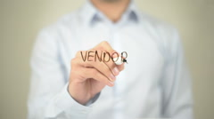 Vendor, man writing on transparent screen Stock Footage