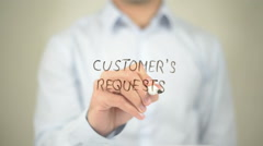 Customer's Request, man writing on transparent screen Stock Footage