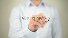 Web Shopping, man writing on transparent screen Stock Footage
