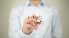 E-Mail Account, man writing on transparent screen Stock Footage