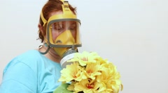 Woman with gasmask. Stock Footage