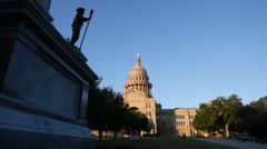 Texas Austin Capitol and Confederate statue Stock Footage