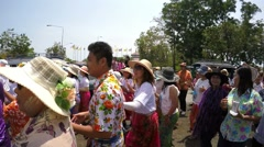 Thai People Walking at Songkran Festival Parade Stock Footage