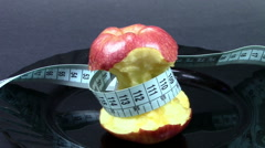 Diet with apple - stock footage