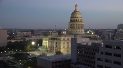 Texas Austin Capitol building after sunset zoom out Stock Footage
