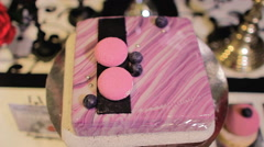 Pink Square Cake With Blueberries Stock Footage