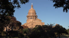 Texas Austin Capitol dome with tree frame Stock Footage