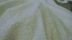 Lace Bridal Dress on the Couch Stock Footage
