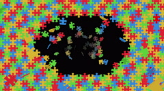 Colorful puzzle pieces flying out - seamless loop, overlay, alpha channel Stock Footage