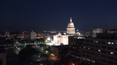 Texas Austin night capitol zoom in Stock Footage