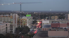 Texas Austin traffic and crane above - stock footage