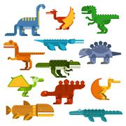 Cartoon flat dinosaurs and aquatic reptiles - stock illustration