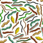 Seamless colorful crawling insects pattern - stock illustration